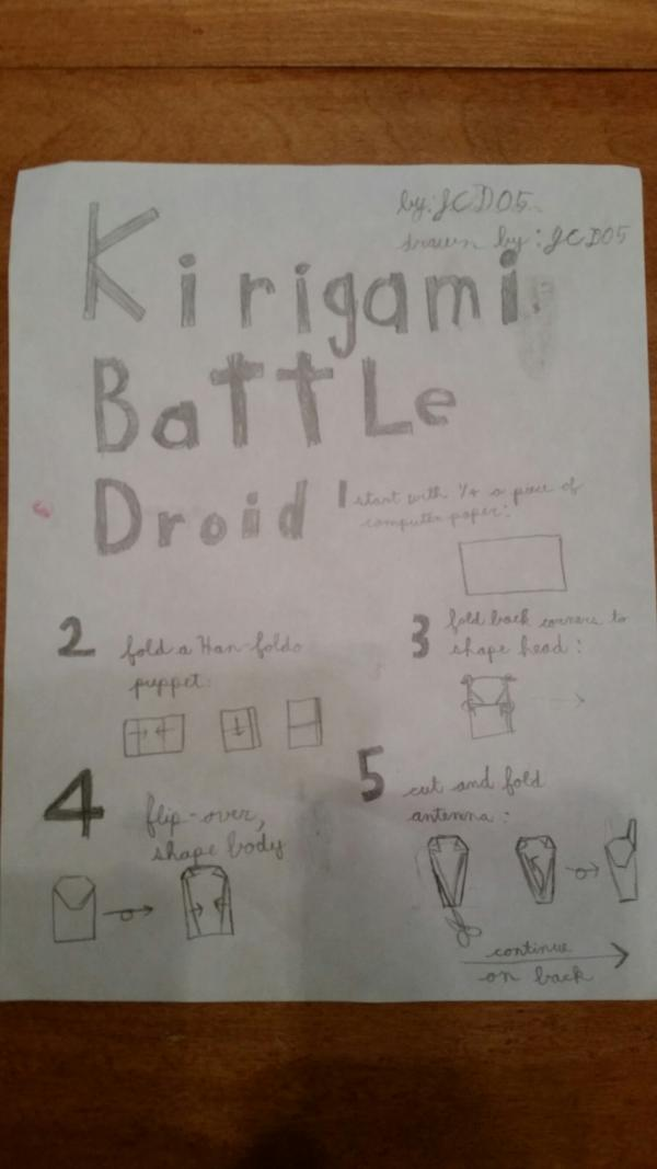 Battle droid instrux origami yoda for Origami droid