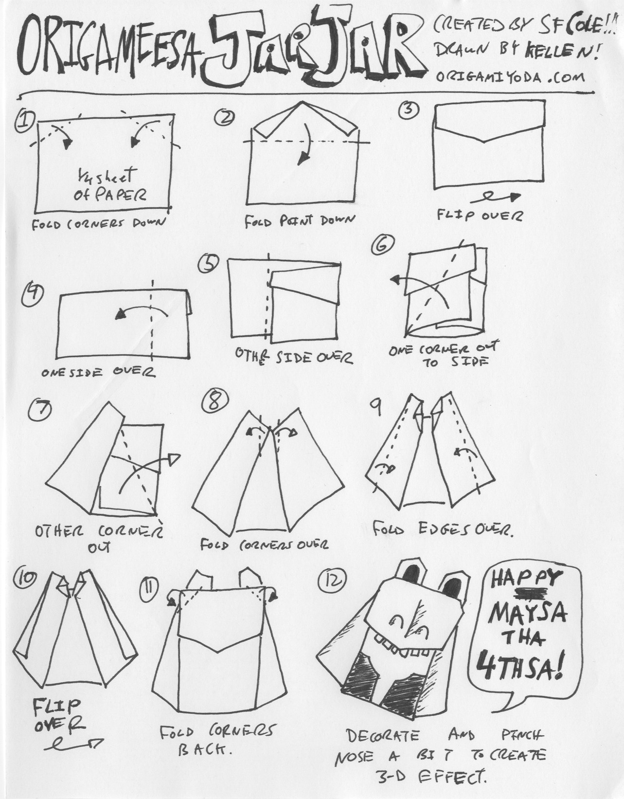 How To Fold Origami Yoda Instructions Jarjar