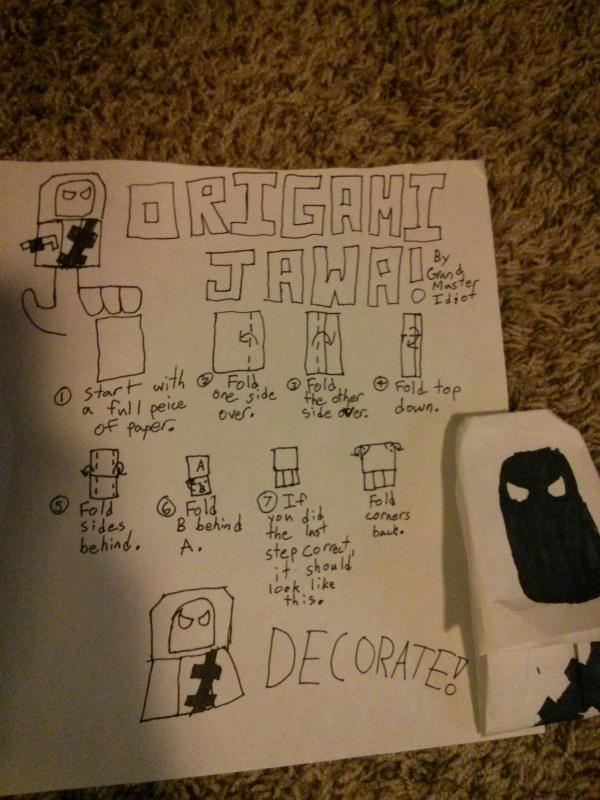 Extremegami: How to make a origami Jawa Finger Puppet   800x600