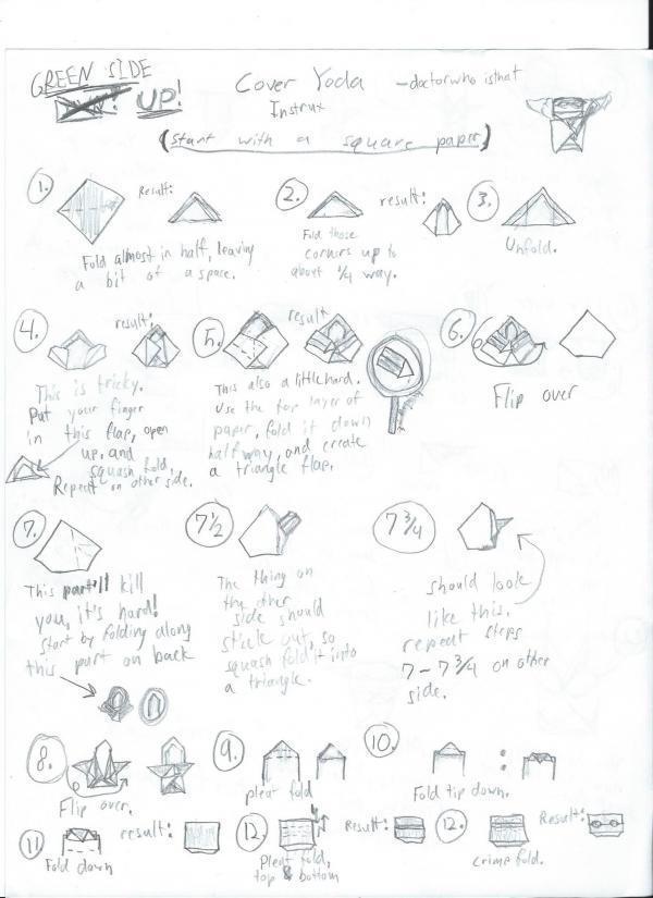 Yoda – Origami Directions   Star wars origami, Origami yoda ...   825x600