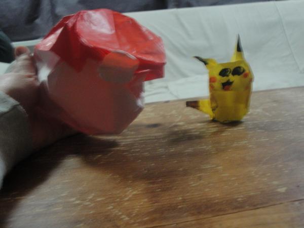 My New Origami Pokeball And Pikachu Origami Yoda